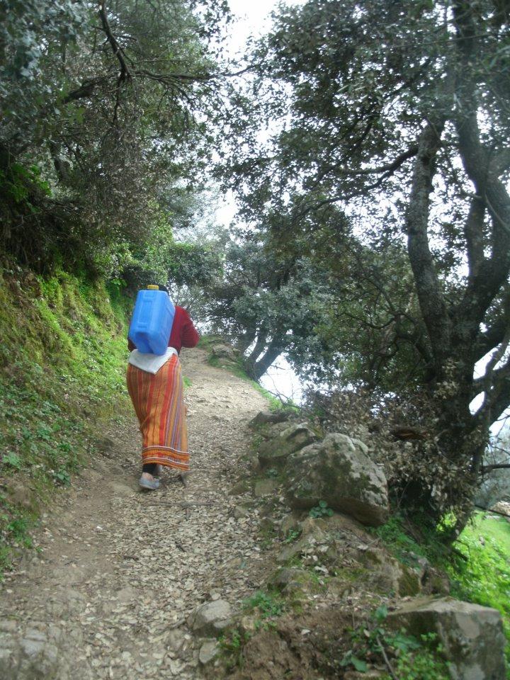 grande kabylie, geste millenaire où les femmes transportent sur des kilomètres l'eau de source (Algérie 2013)/Photographie  Jimmy_husson (flickr c.c)